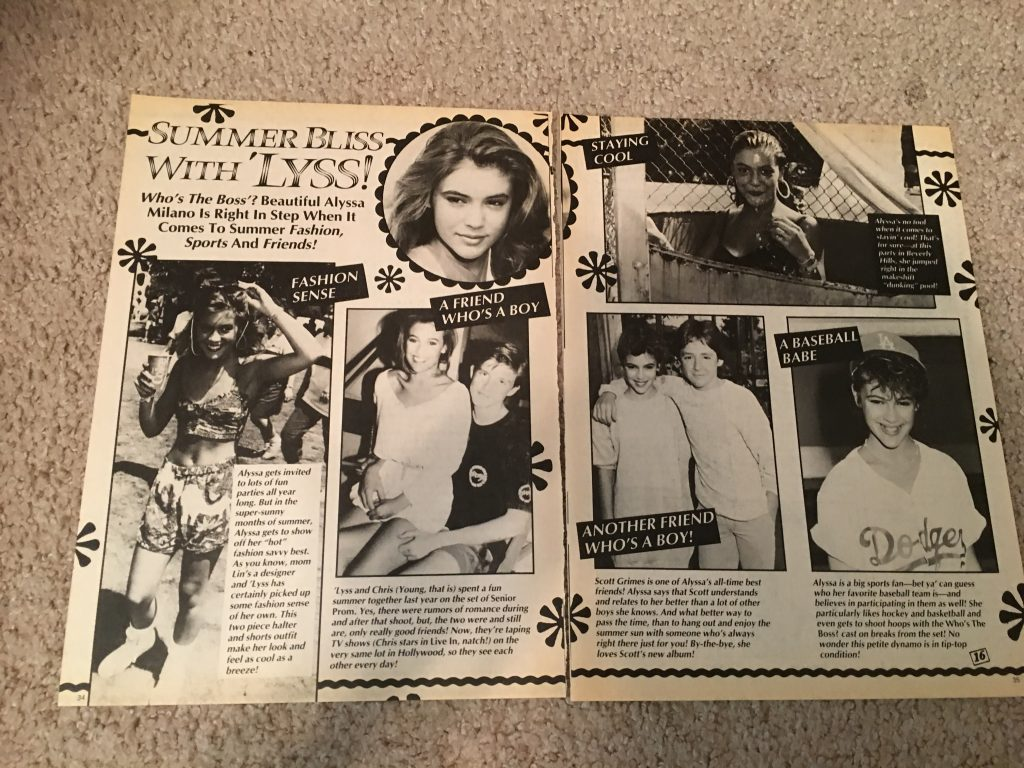Alyssa Milano teen magazine pinup clipping 2 page summer bliss with lyss