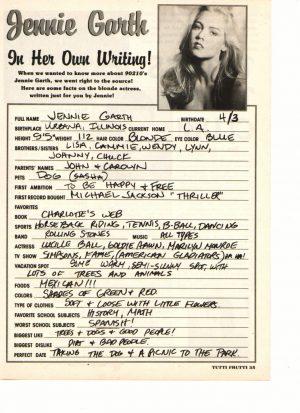 Jennie Garth Tutti Frutti article in her own hand writing
