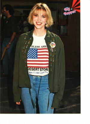 Debbie Gibson wearing a USA flag shirt