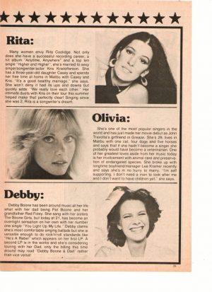Olivia Newton John Debby Boone Rita Coolidge teen magazine clipping ladies