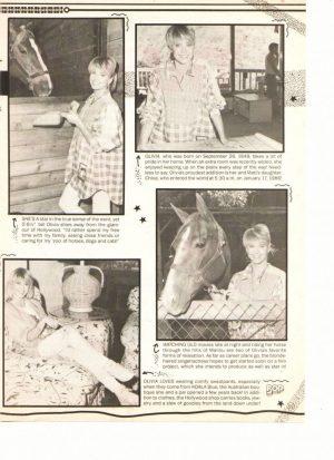 Olivia Newton John feeding a horse article teen magazine