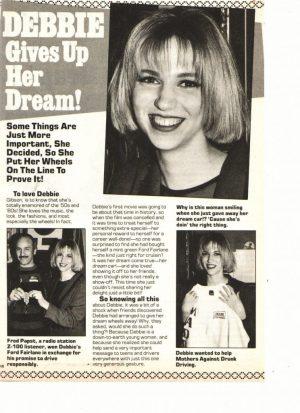 Debbie Gibson Matt Leblanc teen magazine clipping gives up her dream