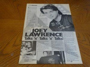 Joey Lawrence teen magazine clipping talks and talks Teen Machine