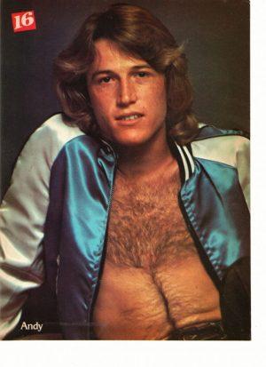 Andy Gibb shirtless blue jacket