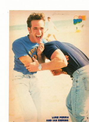 Luke Perry Ian Ziering Julia Roberts teen magazine pinup pushing each other beach Bop