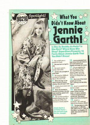 Jennie Garth teen magazine clipping what you didn't know about Jennie Garth