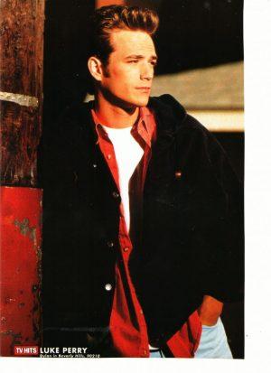 Luke Perry teen magazine pinup red shirt TV Hits magazine