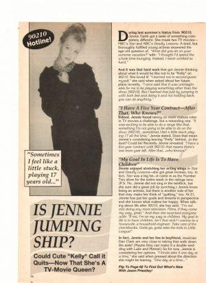 Jennie Garth teen magazine clipping is Jennie jumping ship 16 magazine