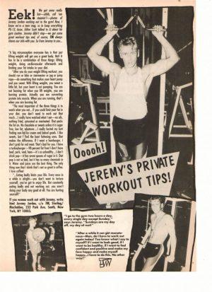 Jeremy Jordan teen magazine pinup shirtless working out tip Teen Machine