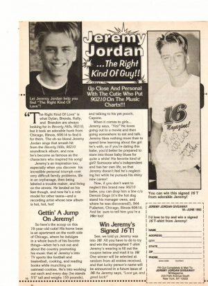 Jeremy Jordan teen magazine clipping the right kind of guy 16 magazine
