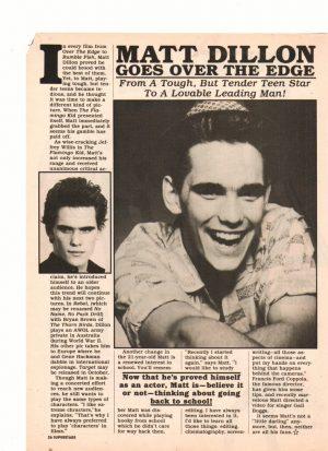 Matt Dillon teen magazine pinup goes over the edge Super Stars