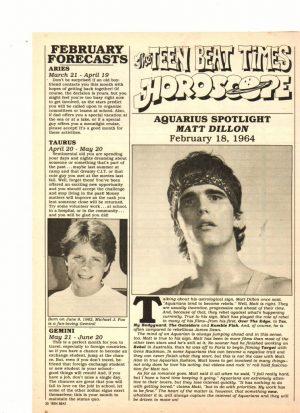 Matt Dillon teen magazine clipping horoscope Teen Beat