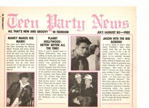 Marky Mark Wahlberg Jason Priestley teen magazine pinup Teen Party News