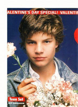 Jay Ferguson teen magazine pinup holding pink flowers Teen Set Jean jacket