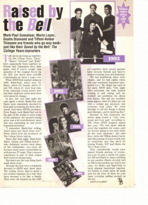 Mark Paul Gosselaar Mario Lopez teen magazine clipping raised by the bell flashback