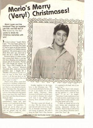 Mario Lopez teen magazine clipping Merry Christmas