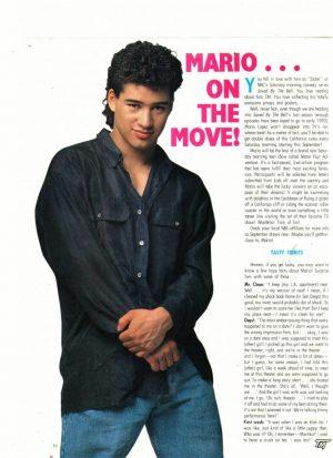 Mario Lopez teen magazine clipping Mario on the move Teen Machine