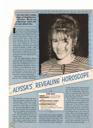 Alyssa Milano teen magazine clipping Alyssa revealing horoscope Star magazine