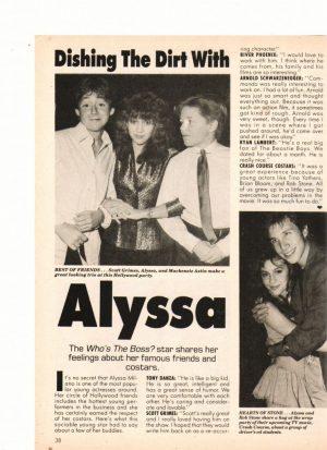 Alyssa Milano teen magazine clipping dishing the dirt with Alyssa Star magazine