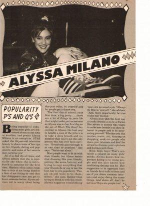 Alyssa Milano teen magazine clipping Popularity P's and Q's Star magazine