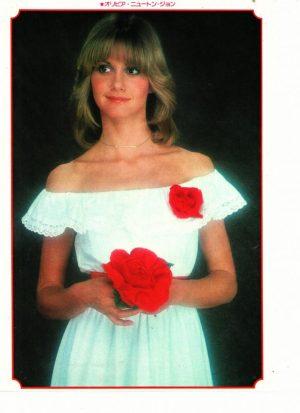Olivia Newton John teen magazine pinup holding a rose