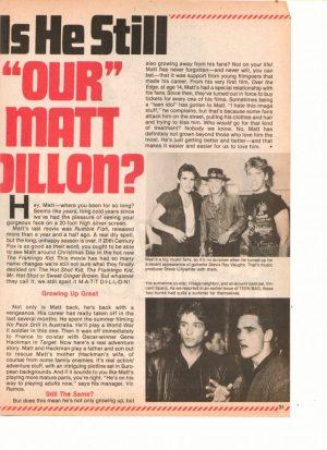 Matt Dillon teen magazine clipping is he still out Matt Dillon