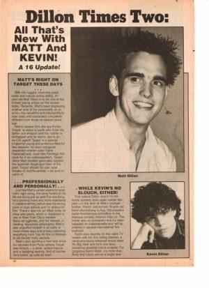 Matt Dillon teen magazine clipping Matt and Kevin Dillon