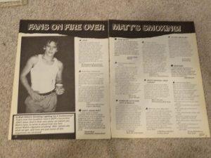 Matt Dillon teen magazine clipping fans on fire over Matt smoking