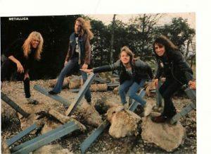 Metallica teen magazine pinup clipping Rock Beat Rockline sitting on rocks