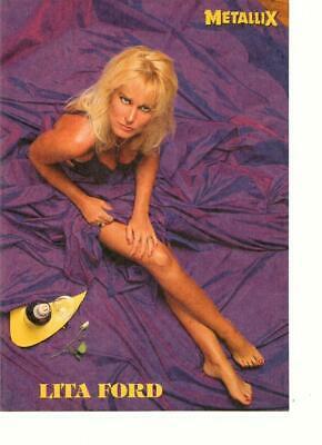 Lita Ford teen magazine pinup clipping The Runaways barefoot purple dress